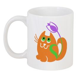 """Кружка """"мартовский кот с тюльпаном"""" - цветы, рыжий кот, мартовский кот"""