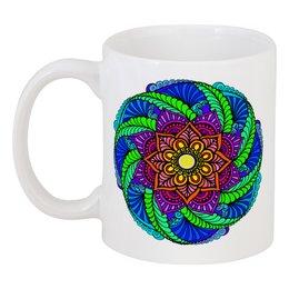 """Кружка """"Яркий этнический цветок"""" - цветы, орнамент, этнический, индийский, мехенди"""