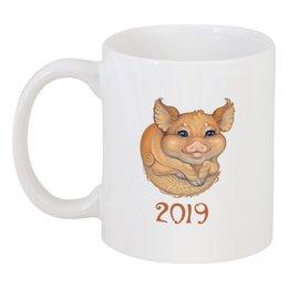 """Кружка """"Символ года - Желтая Свинья"""" - новогодний подарок, хрюша, новый год 2019, год свиньи, желтая земляная свинья"""