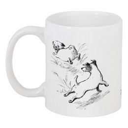 """Кружка """"День из жизни мопса"""" - рисунок, щенок, собака, графика, мопс"""