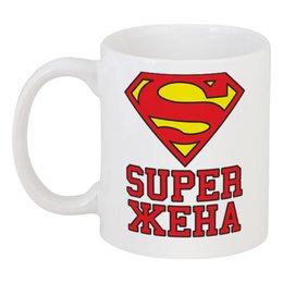 """Кружка """"Super жена (парная)"""" - с надписью, парные, подарок жене, семейные, найти пару - супер муж-жена"""