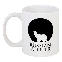"""Кружка """"Russian winter"""" - медведь, русский, россия, луна"""