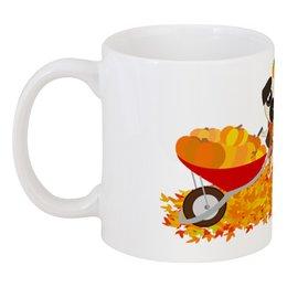 """Кружка """"Мопсы и тыквы."""" - юмор, осень, природа, тыква, мопс"""