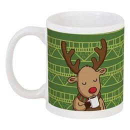 """Кружка """"Олень с кофе"""" - подарок, олень, deer, merry christmas, новогодний подарок"""