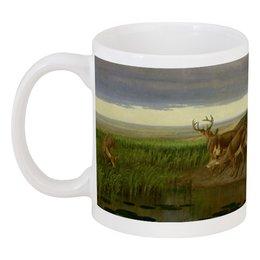 "Кружка ""Deer on the Prairie"" - картина, олени, берд"