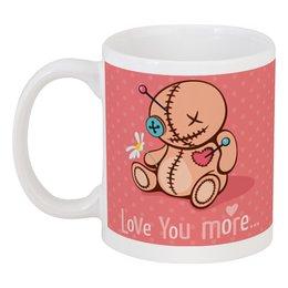 """Кружка """"Love you more..."""" - сердце, любовь, кукла, розовый"""
