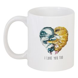 """Кружка """"Я тоже тебя люблю"""" - 14 февраля, котята, i love you, день всех влюбленных"""