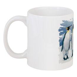 "Кружка ""Три пингвина"" - птица, снег, акварель, пингвин, антарктида"