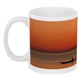 """Кружка """"закат на озере"""" - красота, природа, закат, лодка, озеро"""