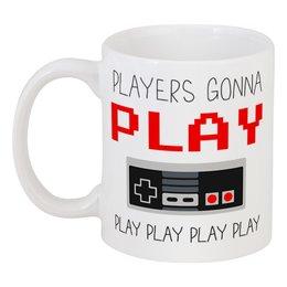 "Кружка ""Игроки играют"" - джойстик, nes, play, 8-bit, приставка"
