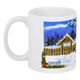 """Кружка """"Снеговик встречает Новый Год"""" - снеговик, подарок к новому году, новогодний сувенир, чашка со снеговиком, для дивана"""