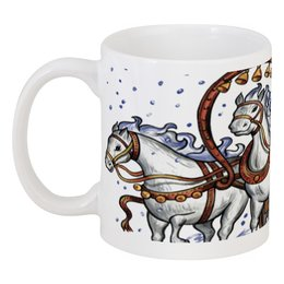 "Кружка ""Дед Мороз и тройка лошадей"" - new year, santa"