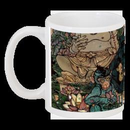 """Кружка """"много диких обезьян"""" - арт, цветы, звезды, рисунок, в подарок, бали, обезьяны, лотосы"""