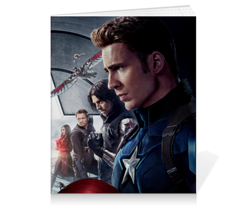 """Тетрадь на клею """"Civil war"""" - комиксы, марвел, железный человек, капитан америка, гражданская война"""