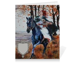 """Тетрадь на клею """"Охота на осень"""" - девушка, лошадь, сова, всадница, охота"""