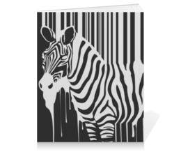 """Тетрадь на клею """"Зебра"""" - животные, зебра, zebra, штрих-код, barcode"""