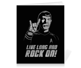 "Тетрадь на клею ""Спок . Live Long an Rock On!"" - рок, star trek, спок, spock, звёздный путь"