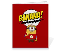 """Тетрадь на клею """"Миньон Шелдон"""" - шелдон, миньоны, теория большого взрыва, minions, банана"""