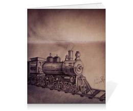 """Тетрадь на клею """"Паровоз"""" - рисунок, train, паровоз"""