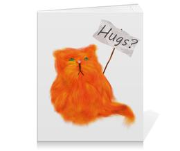 """Тетрадь на клею """"Hugs?"""" - кот, cat, рыжий, обнимашки, hugs"""