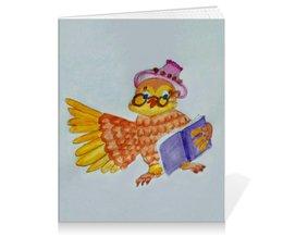 """Тетрадь на клею """"Умная Сова"""" - сова, умная, книга, мудрая"""