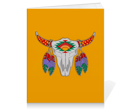 "Тетрадь на клею ""Этнический бык"" - 23 февраля, желтый, этно, бык, bull"