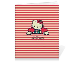 "Тетрадь на клею ""Ретро (Hello Kitty)"" - hello kitty, мультфильм, котик, в полоску, рэтро"