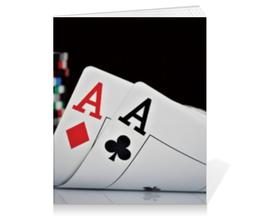 "Тетрадь на клею ""Карманные тузы"" - игра, покер, карты, пара, туз"