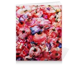 """Тетрадь на клею """"Вишня россыпью"""" - красный, ягоды, яркий, акварелью, картина акварелью"""