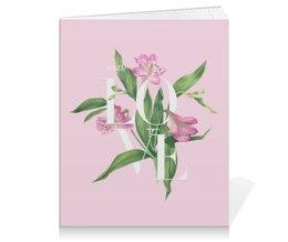 """Тетрадь на клею """"With love"""" - pink, watercolor flowers, with love, акварель, цветы"""
