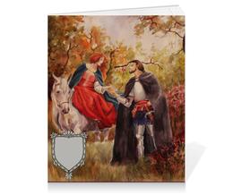 """Тетрадь на клею """"Осенняя встреча"""" - встреча, средневековье, рыцари, лубовь, тристан и изольда"""