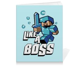"Тетрадь на клею ""Like a Boss. Майнкрафт"" - игры, minecraft, майнкрафт, геймерские, стив"