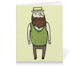 """Тетрадь на клею """"Джентльмен с моноклем"""" - шляпа, борода, усы, джентльмен, монокль"""