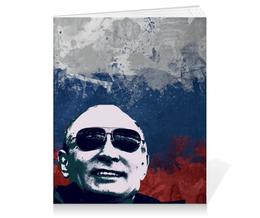"""Тетрадь на клею """"Путин"""" - очки, патриот, флаг, путин, putin"""