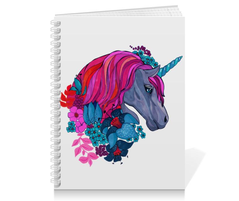 Тетрадь на пружине Printio Единорог с розовыми волосами в цветах