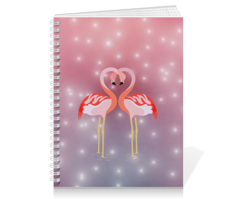 Тетрадь на пружине Printio Влюбленные фламинго