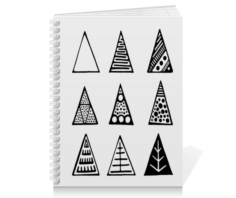 Тетрадь на пружине Printio Triangles закончи эту книгу черно белая обложка