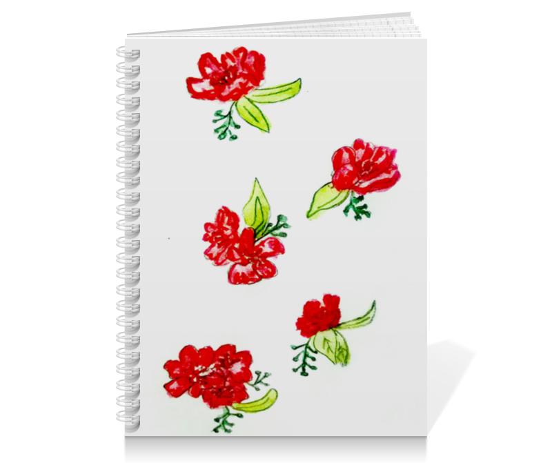 Тетрадь на пружине Printio Тетрадь красные цветы