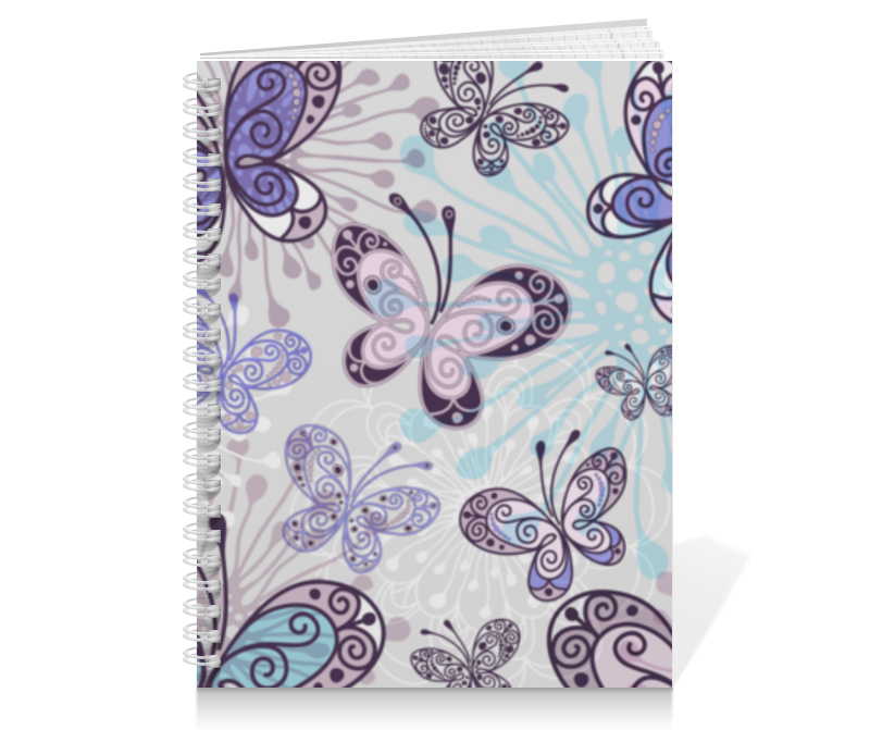 Тетрадь на пружине Printio Фиолетовые бабочки