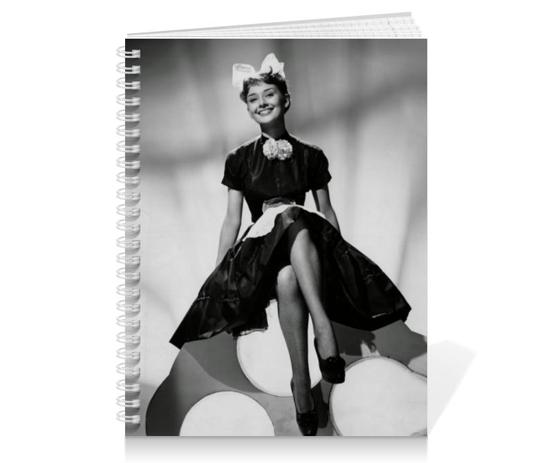 Тетрадь на пружине Printio Одри хепбёрн закончи эту книгу черно белая обложка