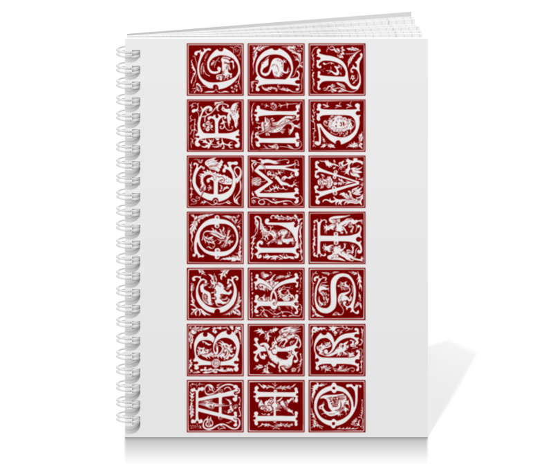 Тетрадь на пружине Printio Декоративный латинский алфавит xvi века анатомия человека русско латинский атлас