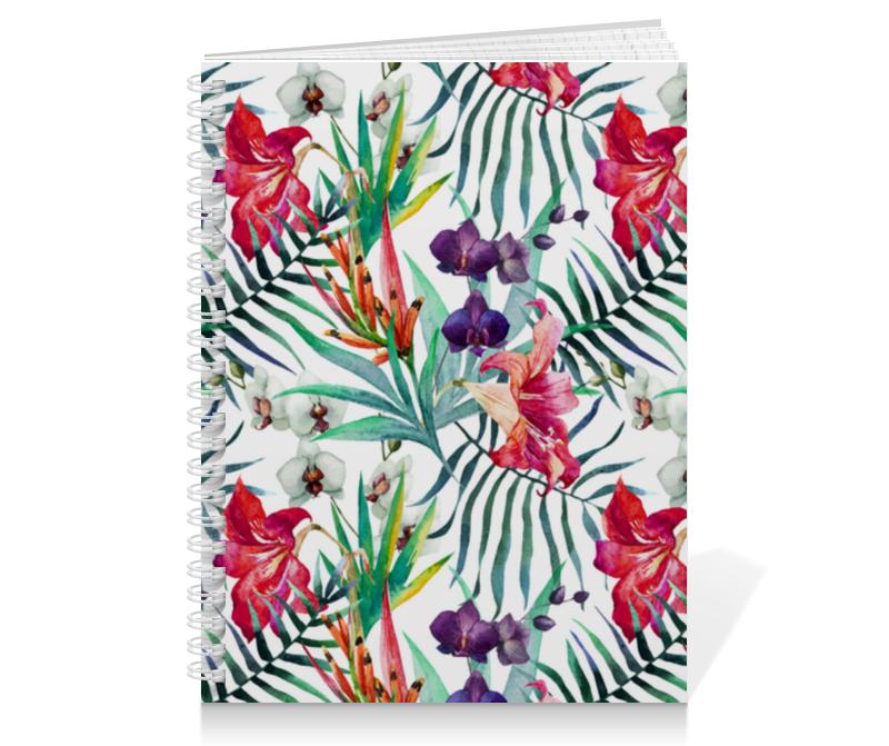 Тетрадь на пружине Printio Тропические цветы отсутствует цветы