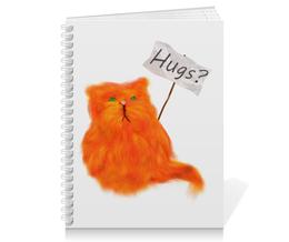 "Тетрадь на пружине ""Обнимашки?"" - кот, cat, рыжий, обнимашки, hugs"