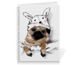 """Тетрадь на пружине """"Мопс в шапочке"""" - заяц, пес, щенок, собака, мопс"""