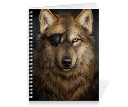 """Тетрадь на пружине """"ВОЛКИ ФЭНТЕЗИ"""" - повязка, одноглазый волк, стиль"""