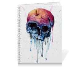 "Тетрадь на пружине ""Rotten apple"" - skull, череп, акварель, яблоко"
