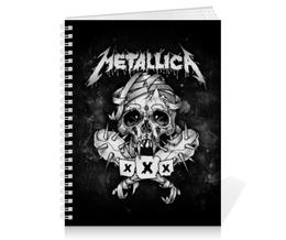 "Тетрадь на пружине ""Metallica"" - metallica, металлика, метал, рок, группы"
