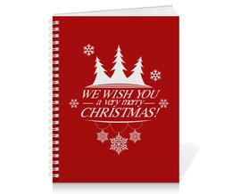 "Тетрадь на пружине ""Merry X-mas"" - новый год, рождество, merry xmas"