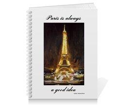 "Тетрадь на пружине ""Париж"" - шоколад, париж, одри хепберн, paris, эйфелева башня"