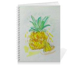 "Тетрадь на пружине ""Ананас"" - лето, ананас, вкусно, фрукт"